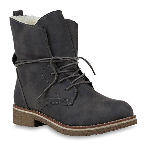 Damen Schuhe Stiefeletten Warm Gefütterte Schnürstiefeletten Stiefel 147469 Grau Total Brooklyn 36 Flandell