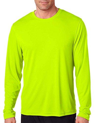Hanes Men's Long Sleeve Cool Dri T-Shirt UPF 50+, Large, 2 Pack ,1 Black / 1 Safety Green