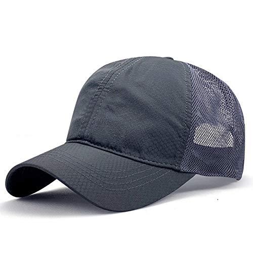 FXSYL Großer Kopf Mann Plus Größen-Baseballmütze-Mann-Sommer-dünne Gewebe-Ineinander greifen-Sonnenhut-männliche Hysteresen-Hüte,Gray,Code 60-65CM
