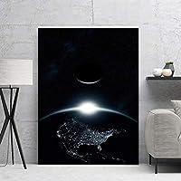 """キャンバス画像地球のスカイラインのポスターとプリントアートワーク壁アートリビングルーム寝室の家の装飾23.6"""" x35.4""""(60x90cm)フレームレス"""