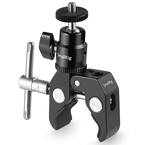 SMALLRIG Super Clamp Mount with Mini Ball Head Mount Hot Shoe Adapter with 1/4 Screw for LCD Field Monitor, LED Lights, Flash, Microphone, Gopro, Action Cam - 1124