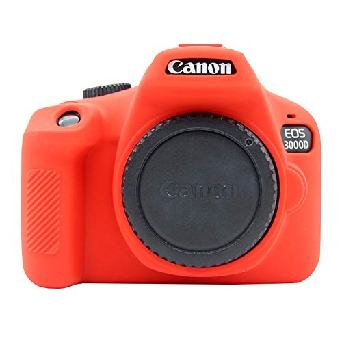 Easy Hood Camera Case for Canon EOS 4000D / Rebel T100 Digital SLR Camera, Anti-Scratch Soft Silicone Protective Cover Protector Skin for Canon EOS 3000D 4000D DSLR Camera (Red)