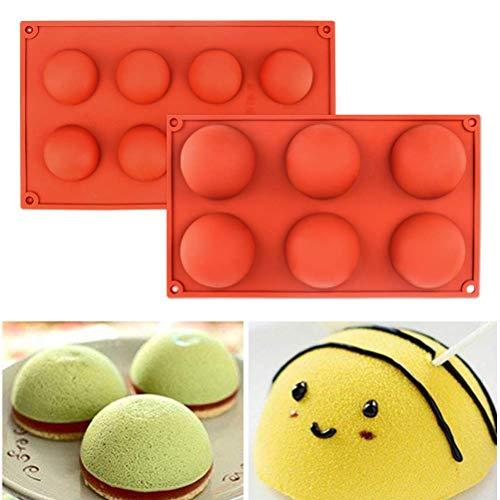 Halbkreisförmiges Silikonformen-Set für Kuchendekoration, halbrunde Backform für Teake, Seife, Schokolade, Desserts, Eiskugeln (6 Löcher und 8 Löcher)