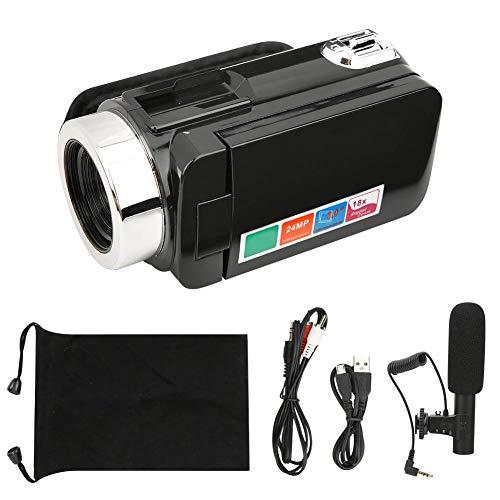 Camcorder, 18x digitale zoom videocamera HD 24 MP videocamcorder, 3 inch LCD groot scherm, ondersteunt 32 GB geheugenkaart, digitale camera met opbergtas (standaard + microfoon)