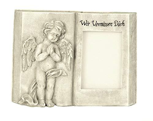 Geschenkestadl Grabschmuck aufgeschlagenes Buch mit Engel und Foto Fenster und Aufschrift Wir vermissen Dich Grabdekoration