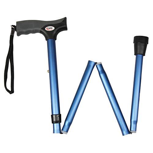 "Carex Soft Grip Folding Cane - Foldable Walking Cane For Women and Men - Adjustable Height (33""-37""), Anti-Slip Rubber Tip, Soft Derby Style Ergonomic Handle, Metallic Blue"