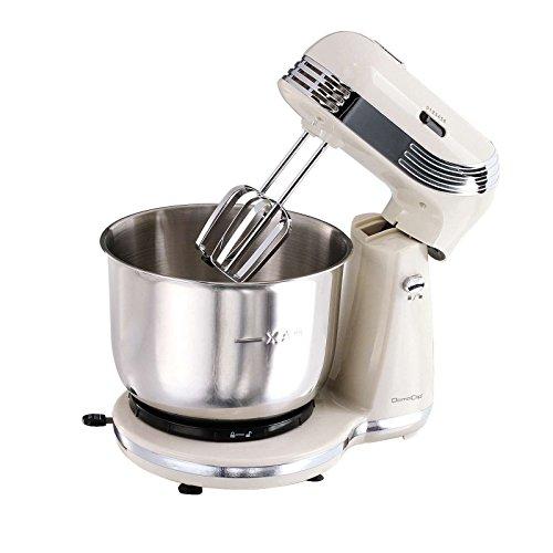 Retro Küchenmaschine mit Edelstahl-Rührschüssel 3 Liter (Knetmaschine, Rührmaschine, 2500 Watt, 6 Geschwindigkeitsstufen, Schneebesen, Knethaken, creme)