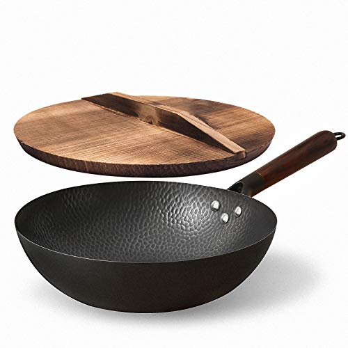 """Anyfish Carbon Steel Wok Pan - 12.5"""" Woks and Stir Fry Pans with Lid, No Chemical Coated Chinese Wok, Flat Bottom Wok with Lid Spatula Ladle for All Stoves"""