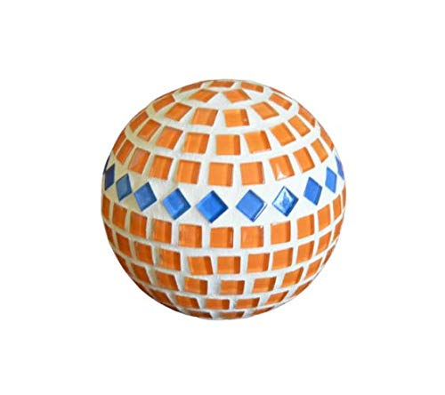 Handgefertigte Rosenkugel orange blau 10 cm handmade handgemacht