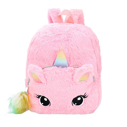 Unicorn Backpack Cute Plush Bookbag Kids School Bag Furry Rucksack for Girls (Unicorn Backpack for Pink)