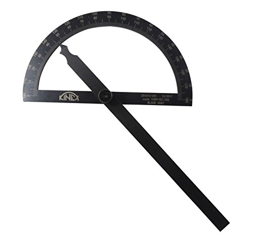 Kinex 1089-02-200 7-1/4 Inches (200 mm) Black Metal Finish Black Machinist Protractor Angle Finder