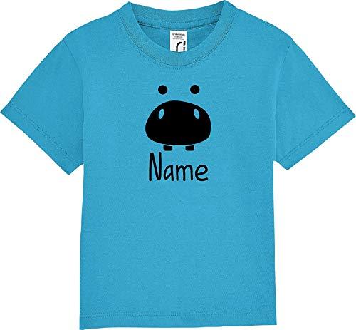 Kleckerliese T-shirt à manches courtes pour enfant avec motif animal de compagnie Hippo - Turquoise - 12-18 ans
