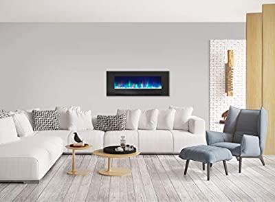 Cambridge CAM50WMEF-1BLK 50 In. Wall-Mount Electric Fireplace in Black with Multi-Color Flames and Crystal Rock Display
