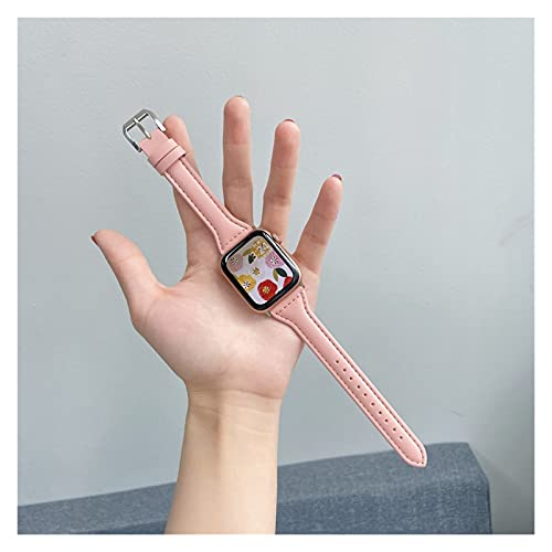 LIANYG Correa De Reloj Banda de Reloj de Bucle de Cuero 42mm 38mm 40mm 44mm Hebilla Deportiva 493 (Band Color : Pink, Band Width : 40mm)