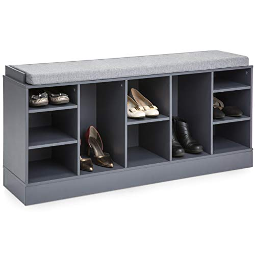 Best Choice Products Multi-Functional Space Saving Organization Storage Shoe Rack Bench for Entryway, Bedroom, Living Room w/Padded Seat, 10 Cubbies, Gray