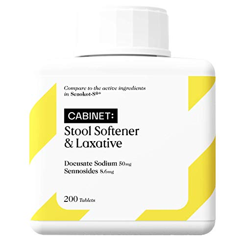 Cabinet Stool Softener & Natural Vegetable Laxative | 200 Tablets | Compare to Senokot-S | Gentle Dependable Overnight Relief on Occasional Constipation