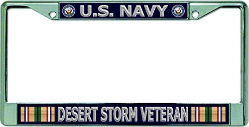 U.S. Navy Desert Storm Veteran Chrome License Plate Frame