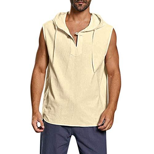 D-Rings Camiseta de tirantes para hombre de verano, cuello en V, informal, holgada, para deporte, fitness, culturismo, musculación, camiseta sin mangas, camiseta de algodón, caqui, XL