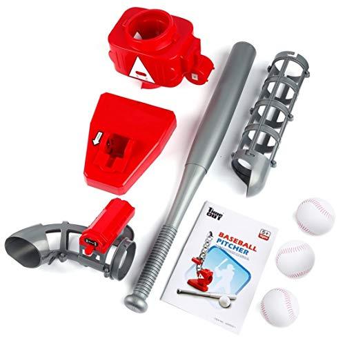 Candybarbar Baseball Automatische Pitching Machine starten Serving-Maschine Batterie Version Tragbare Feet Übung QCM033-1Red & Gray