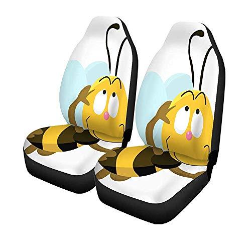 Set van 2 stoelhoezen voor autostoelen, schattige dieren, bijen comic, bijen, knieën, action universele autostoelbeschermer 14 – 17 inch