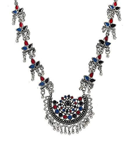Statement-Kette aus indischem Silber, oxidiert, ethnisch, Bollywood-Stil, handgefertigt, Tribal-Design, afghanisch, Blau / Rot
