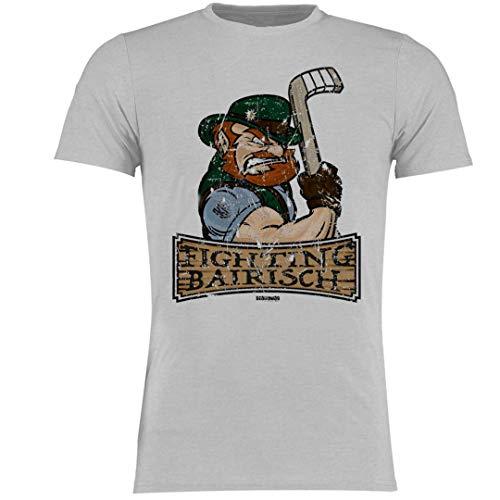 Scallywag® Eishockey T-Shirt Korbinian Holzer Logo Fighting Bairisch I Größen S - 3XL I A BRAYCE® Collaboration (offizielle Korbi Holzer Collection) (M, dunkelgrau)