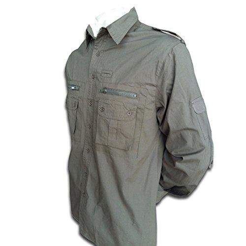 TUCUMAN AVENTURA - Camisa Algodon para el Camino de Santiago (Verde Kaki, L)