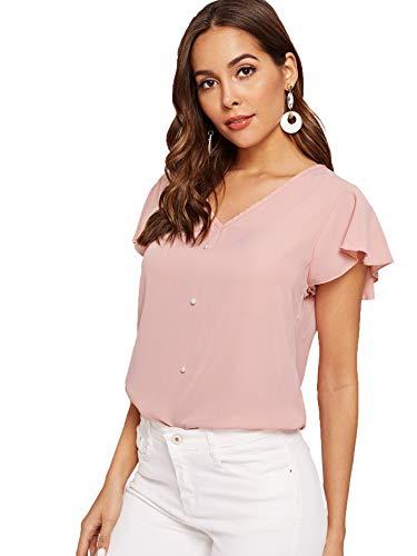 SweatyRocks Women's Summer Elegant Short Sleeve V Neck Pullover Blouse Shirt Top Pink L