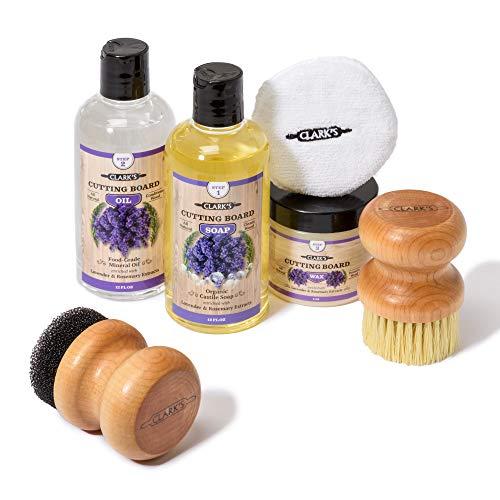 CLARK'S Complete Cutting Board Care Kit - Cutting Board Oil (12oz) - Soap (12oz) - Finish Wax (6oz)...