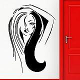 Tianpengyuanshuai Autocollant Mural de Salle de Bains Coiffure Cheveux Longs Vinyle Autocollant Mural décoration Salon de beauté 43X63 cm