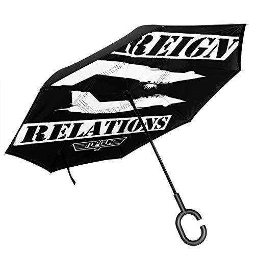 Top Gun Außenbeziehungen Doppelschichtiger umgekehrter Regenschirm für das Auto, umgekehrt, zusammenklappbar, C-förmige Hände – leicht und Winddicht