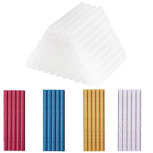 100 Stick Colla a Caldo Bastoni, 20 Stick Colorati Glitter + 80 Stick Transparente Bastoni di Colla a Caldo, Colla Stick a Caldo, Mini Bastoncini di Colla per Pistola Colla a Caldo