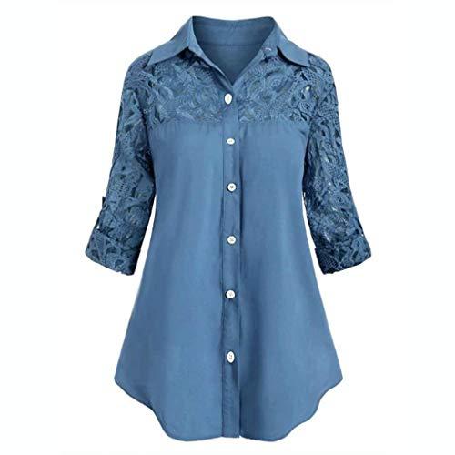 MERICAL Camicia a Maniche Lunghe con Scollo a V a Pannelli in Pizzo Stile Casual Elegante da Donna(b-Blu,X-Large)