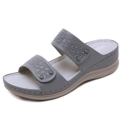 Zapatillas Plataforma Mujer Sandalias Cuña Verano 2021 Zuecos y Mules Cómodos Chanclas sin Espalda Antideslizante Ortopédicaelegantes Pantuflas con Punta Abierta