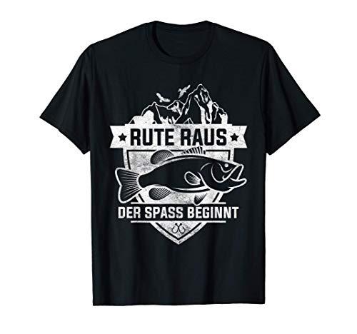 Rute Raus der Spass beginnt Fischer Angler Geschenk T-Shirt