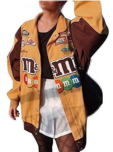 Morken Bomberjacke Damen Sweatjacke Ladies College Sweat Jacket Reißverschluss Für Frauen Oversized Patchwork Jacke Vintage Druck Jacken Baseball Mantel