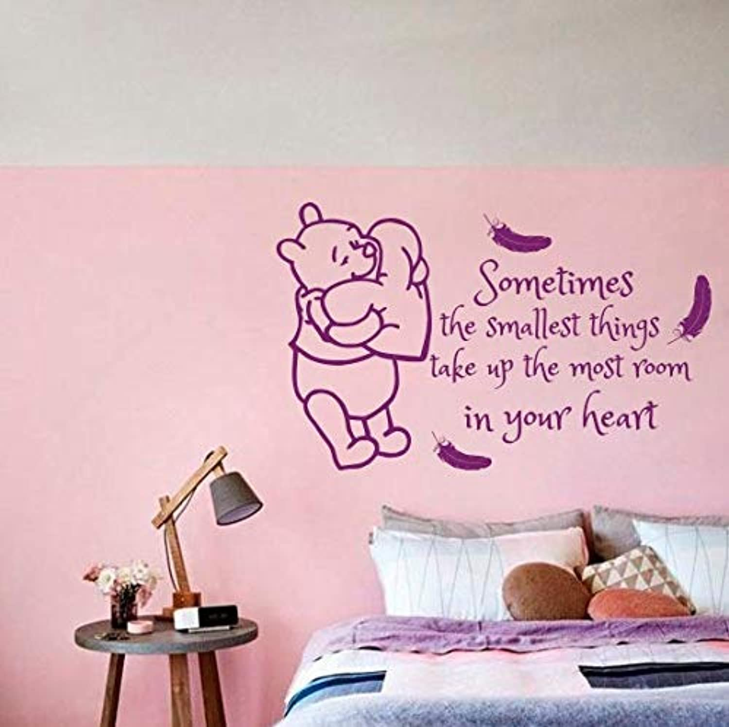 DalaB Kids Room Decal Winnie Pooh Feathers Quotes Vinyl Sticker Quote Baby Nursery Decor Kids Bedroom Wall Sticker DIY Art Vinyl M70  (color  Purple, Size  78x130cm)
