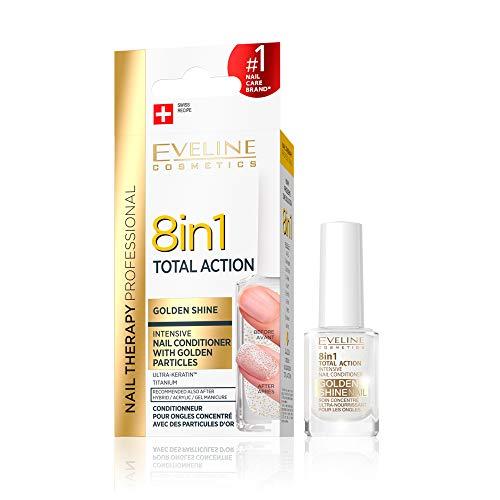 Eveline Cosmetics 8in1 Total Action konzentriertes Nagelpflegemittel mit Goldpartikeln   12 ml   Restaurative Behandlung   Einfache Anwendung