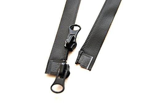 everest1953 2-Wege Outdoor Reißverschluß wasserdicht 55 60 65 70 75 80 cm schwarz matt, TPU beschichtet (75 cm)