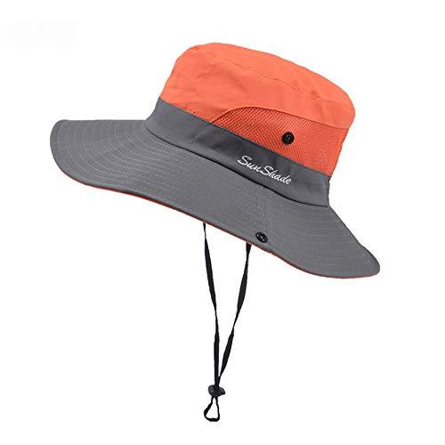 Women's Outdoor UV Protection Foldable Mesh Wide Brim Beach Fishing Hat (X-Orange)