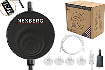 NEXBERG Aquarium Air Pump Super Quiet <35dB Mini Piezo Air Pump for Fish Tanks up to 13 gal Oxygen Supply Ultra Silent Nano Energy Saving 1W with Free Thermometer Check Valve and More!