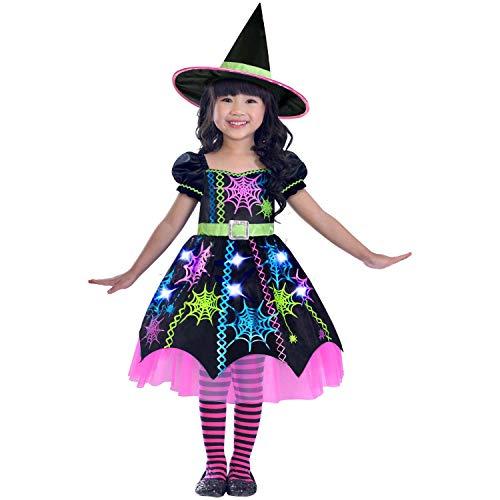 amscan- Disfraz de Bruja de araña para niña, años, 1 Unidad, Color negro, age 3 to 4 (192937075814)