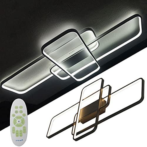 Lámpara De Techo Moderna LED Regulable con Control Remoto Plafón para Sala De Estar Lámpara Acrílico metal 3 Luz Rectangular De Diseño Dormitorio Decor Cocina Oficina Araña De Luces 90x50cm (Negro)
