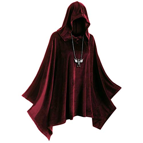 Toamen Donne Uomini Elegante Mantello Halloween Vintage Accoppiamento Cappuccio Capo Cappotto Autunno Inverno Giacca A Vento Cosplay Costume(Rosso,XXX-Large)