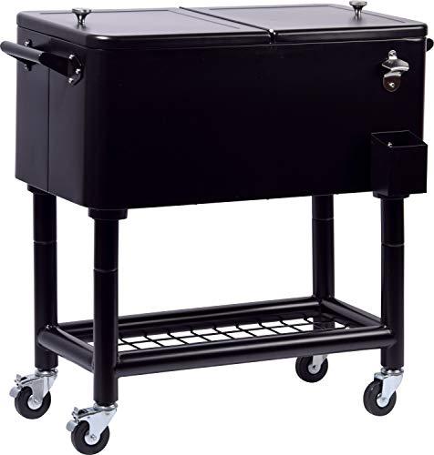 """Roestvrijstalen serveerwagen""""Fidschi"""" met legplank, rolbare koelwagen voor dranken en gerechten, 91 x 48 x 46 cm, 76 liter"""