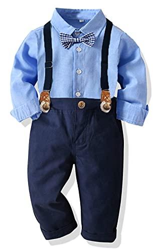 Yokald 4tlg Baby Jungen Bekleidungssets Anzug Kleid Strampler + hosenträger Fliege Krawatte Anzug Gentleman Festliche Taufe Hochzeit Langarm Baby Kleikind 6 Monate - 6 Jahre (Blau005, 6-12M)