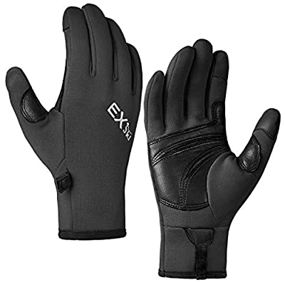 MCTi Touchscreen Gloves Fleece Lined Goatskin Palm Lightweight for Running Driving Black X-Large
