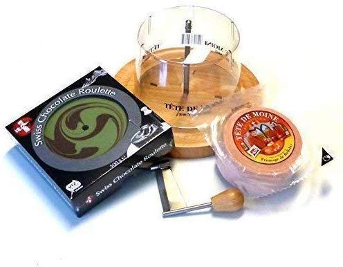 Tete de Moine Juego completo quesera/rallador de queso con cubierta + medio queso Tete de Moine + ruleta de chocolate/ pistacho