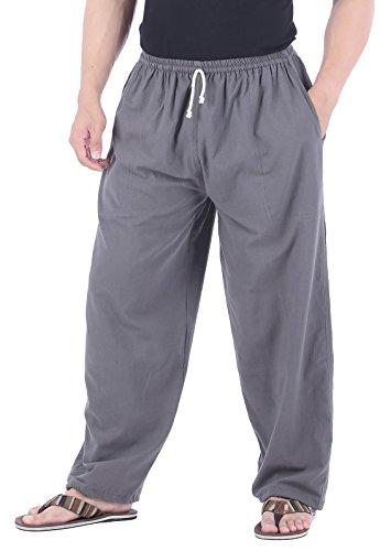 CandyHusky Men Casual Lounge Jogging Workout Yoga Pants Elastic Waist Drawstring (XL/XXL, Grey)