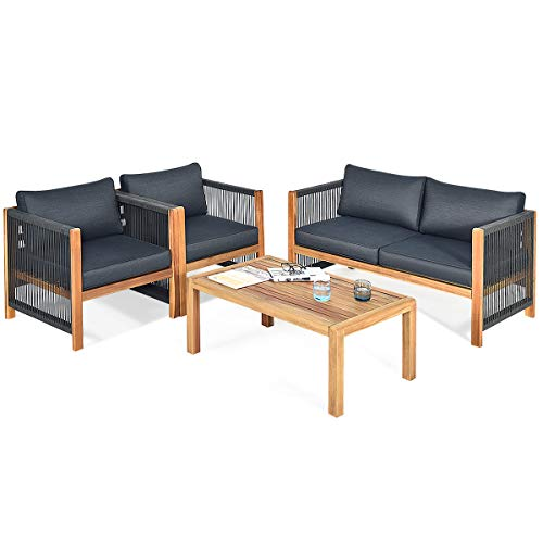 Tangkula Outdoor Wood Furniture Set, Acacia Wood Frame Loveseat Sofa, 2 Single Chairs and Coffee Table, 4 Pieces Conversation Set with Cushions, Garden Balcony Poolside Outdoor Living Set